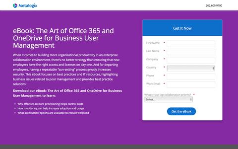 Screenshot of Landing Page metalogix.com - The Art of Office 365 and OneDrive for Business User Management - captured April 19, 2018