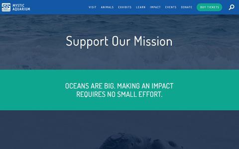 Screenshot of Support Page mysticaquarium.org - Donate - Mystic Aquarium - captured Sept. 20, 2018