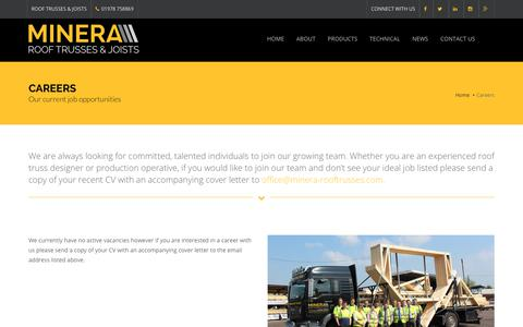 Screenshot of Jobs Page minera-rooftrusses.com - Careers and Vacancies |  Minera Roof Trusses - captured Oct. 20, 2018