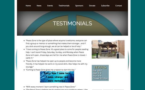 Screenshot of Testimonials Page peaceevansville.org - Testimonials - captured Sept. 25, 2018