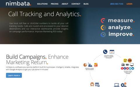 Screenshot of Home Page nimbata.com - Nimbata - Call Tracking | Call Analytics | Marketing ROI - captured Oct. 7, 2014
