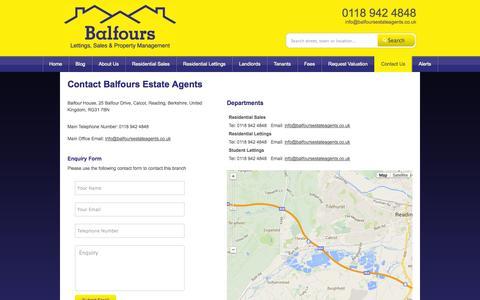 Screenshot of Contact Page balfoursestateagents.co.uk - Contact Balfours Estate Agents   Balfours Estate Agents   Balfour House, 25 Balfour Drive, Calcot, Reading, Berkshire, United Kingdom, RG31 7BN - captured Sept. 30, 2014
