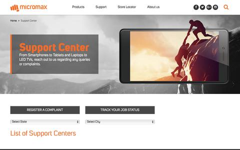 Screenshot of Support Page micromaxinfo.com - Micromax India   Smartphones, Mobile Phones, Tablets, Laptops, LED TV, Data Card - captured July 3, 2016