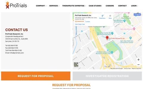Screenshot of Contact Page protrials.com - Contact - Protrials - captured Sept. 29, 2018