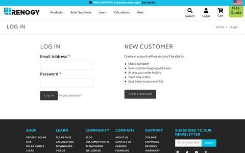 Screenshot of Login Page renogy.com - Renogy United States - Sign in - captured June 3, 2019