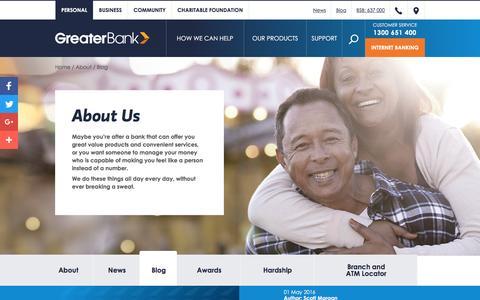 Screenshot of Blog greater.com.au - Blog | Greater Bank Limited - captured May 2, 2016