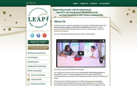 Screenshot of About Page leapcommunity.org - Supporting People With Developmental or Cognitive Disabilities | LEAP - captured Sept. 19, 2014