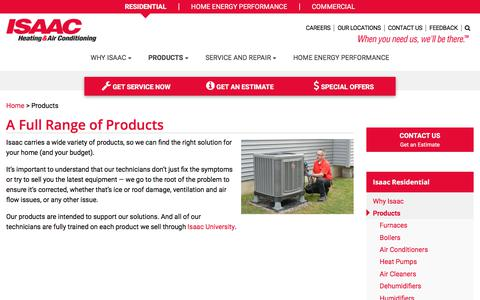 Screenshot of Products Page isaacheating.com - Full Range of HVAC Heating & Cooling Products & Services - captured Oct. 5, 2017