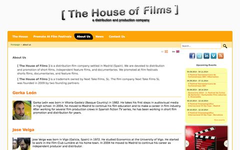 Screenshot of About Page thehouseoffilms.com - [ The House of Films ] - About Us - captured Oct. 9, 2014