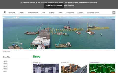 Screenshot of Press Page baminternational.com - News | BAM International - captured Oct. 6, 2017