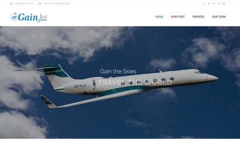 Screenshot of Home Page gainjet.com - GainJet Aviation I Private Jet Charter Operator - captured July 11, 2016