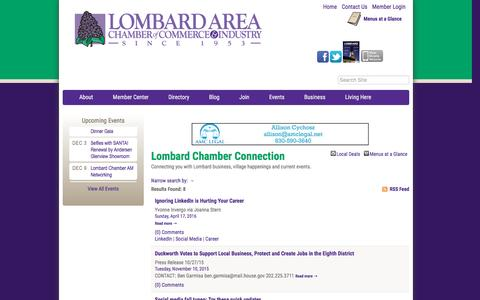 Screenshot of Blog lombardchamber.com - Lombard Chamber Connection - PublicLayout - Lombard Area Chamber of Commerce and Industry, IL - captured Nov. 13, 2016