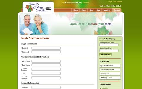 Screenshot of Signup Page familyhistoryexpos.com - welcome to Family History Expos, Inc. - captured Oct. 5, 2014