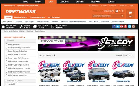 Screenshot of driftworks.com - Exedy Clutches by Driftworks.com, the Exedy Clutches experts. - captured March 19, 2016