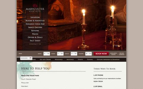 Screenshot of Contact Page maryculterhousehotel.com - Aberdeen hotel reservations, contact luxury hotels in Aberdeen, book country house hotels in Aberdeen Scotland, 4 star hotel accommodation in Aberdeen and Grampian - captured March 4, 2016