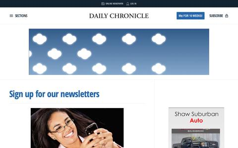 Screenshot of Signup Page daily-chronicle.com - Sign up for our newsletters | Daily Chronicle - captured Oct. 19, 2018