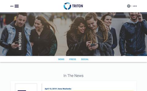 Screenshot of Press Page tritondigital.com - Triton Digital - Newsroom - captured April 25, 2019