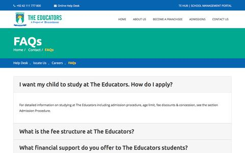 Screenshot of FAQ Page educators.edu.pk - THE EDUCATORS - captured Feb. 15, 2018
