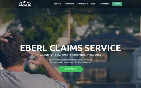 Screenshot of Home Page eberls.com - Adjuster Claims Service - captured June 18, 2015