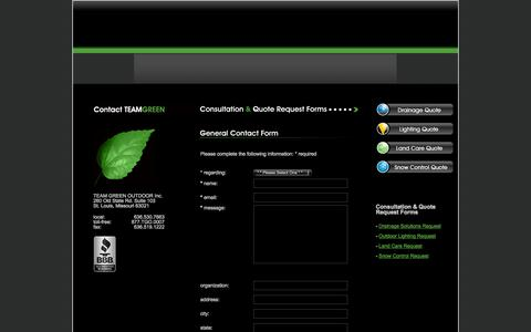 Screenshot of Contact Page teamgreenoutdoor.com - Contact TEAM GREEN OUTDOOR Inc | St Louis MO Missouri 63021 Chesterfield MO 63006 - captured Oct. 27, 2014