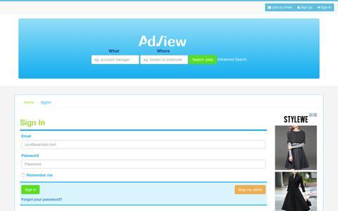 Screenshot of Login Page adview.co.uk - AdView - captured Jan. 27, 2016
