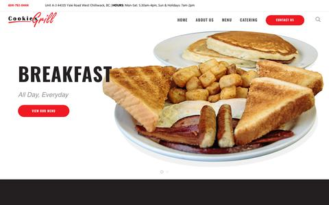 Screenshot of Home Page cookiesgrill.ca - Cookie's Grill – The Fraser Valley's Best All Day Breakfast - captured Oct. 24, 2018