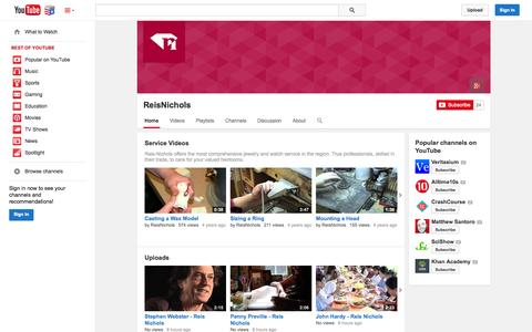 Screenshot of YouTube Page youtube.com - ReisNichols  - YouTube - captured Nov. 5, 2014