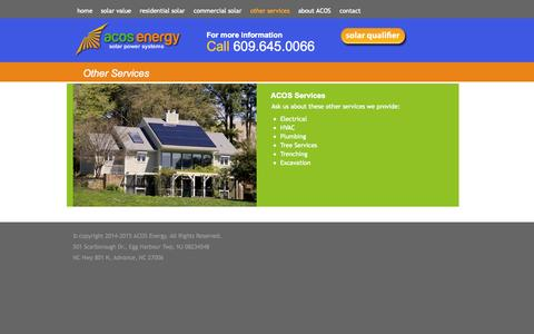 Screenshot of Services Page acosenergy.com - other services | ACOS Energy - captured Oct. 4, 2014