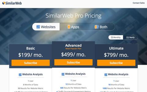 Screenshot of Pricing Page similarweb.com - SimilarWeb PRO Pricing - captured Sept. 19, 2014