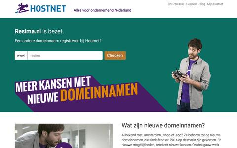 Screenshot of Home Page resima.nl - Hostnet: De grootste domeinnaam- en hostingprovider van Nederland. - captured Jan. 22, 2016