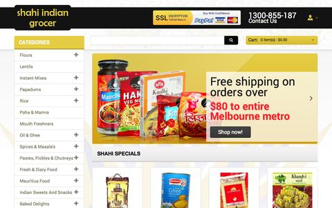 Screenshot of Home Page shahiindia.com.au - Buy Tasty Indian Grocery Online, Indian Groceries Melbourne Foods - Shahi India - captured Sept. 23, 2014