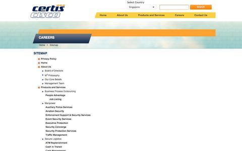Screenshot of Site Map Page certissecurity.com - Sitemap - captured Oct. 2, 2014
