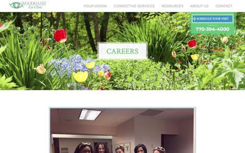 Screenshot of Jobs Page woodhamseye.com - Careers  | Woodhams Eye Clinic - captured Nov. 1, 2018