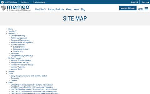Screenshot of Site Map Page memeo.com - Memeo :: Site Map - captured July 13, 2018