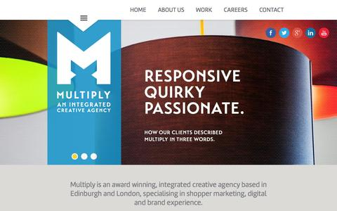 Screenshot of Jobs Page multiplyuk.com - MULTIPLY | SHOPPER | DIGITAL | BRAND EXPERIENCE | Integrated creative agency specialising in Shopper Marketing, Digital and Brand Experience based in Edinburgh and London - captured Oct. 26, 2014