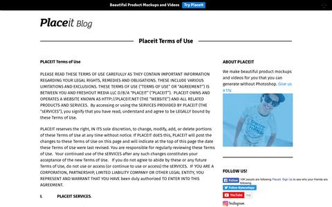 Screenshot of Terms Page placeit.net - Placeit Terms of Use - Placeit Blog - captured Aug. 2, 2017