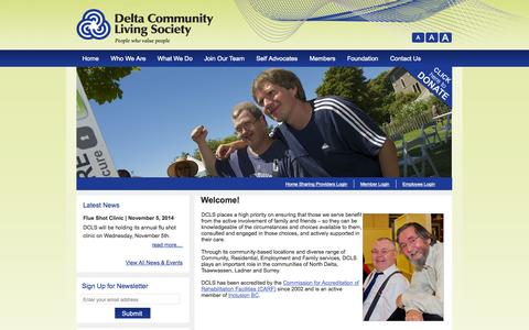 Screenshot of Home Page dcls.ca - Delta Community Living Society - captured Oct. 5, 2014