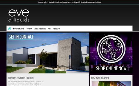 Screenshot of Contact Page eveliquids.com - Contact Us @ EVE Liquids | Elegant E-Liquids & Oils | Experience A New Beginning - captured Sept. 26, 2014