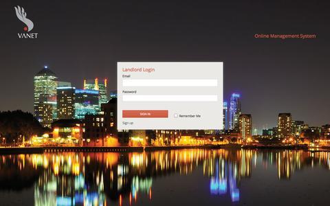 Screenshot of Login Page vanet.uk.com - Vanet OMS - captured Nov. 4, 2014