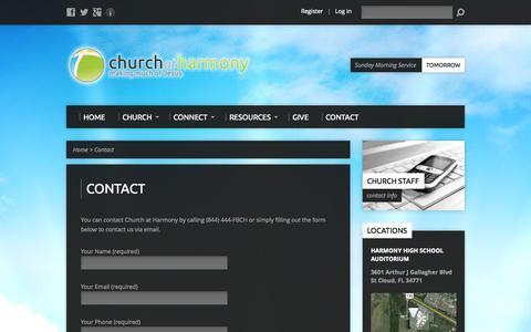 Screenshot of Contact Page churchatharmony.com - Contact - Church at Harmony   Saint Cloud, Fl - captured Sept. 29, 2014