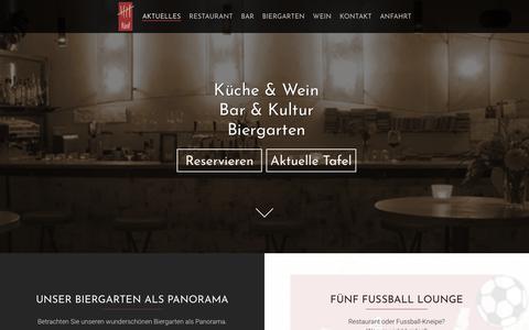 Screenshot of Home Page fuenf.de - fünf | Küche * Bar * Kultur | Kanalweg 52 - 76149 Karlsruhe - captured June 11, 2018