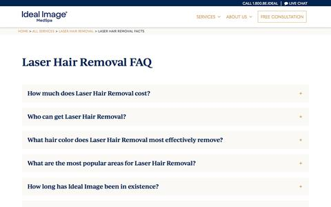 Screenshot of FAQ Page idealimage.com - Laser Hair Removal Treatment FAQs   Ideal Image - captured Dec. 24, 2019