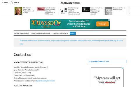 Screenshot of Contact Page medcitynews.com - Contact us - MedCity NewsMedCity News - captured Dec. 4, 2015