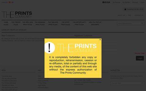 Screenshot of Login Page theprintscommunity.com - Customer Login The Prints Community - captured Aug. 15, 2016