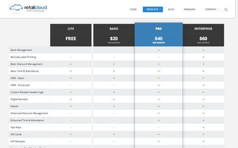 Screenshot of Pricing Page retailcloud.com - Pricing Page   retailcloud - captured Nov. 3, 2014