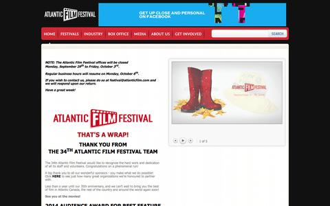 Screenshot of Home Page Privacy Page Terms Page atlanticfilm.com - Home | Atlantic Film Festival - captured Oct. 4, 2014