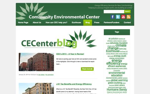 Screenshot of Blog cecenter.org - Energy Efficiency for Buildings – NYC – Community Environmental Center - captured Oct. 2, 2014
