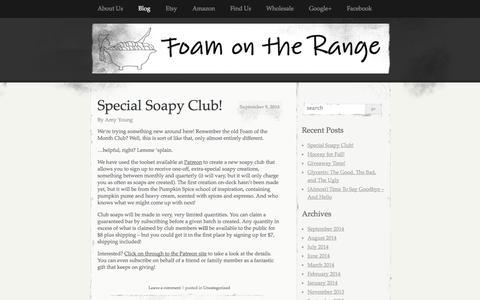 Screenshot of Blog foamontherange.net - Blog   Foam on the Range   A little piece of the modern prairie – handmade soaps, lotions and more! - captured Sept. 30, 2014