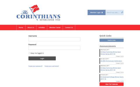 Screenshot of Login Page memberclicks.net - The Corinthians - captured Nov. 7, 2017