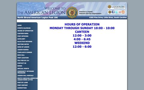 Screenshot of Hours Page alp186.org - American Legion North Strand American Legion Post 186: HOURS OF OPERATION - captured June 17, 2016